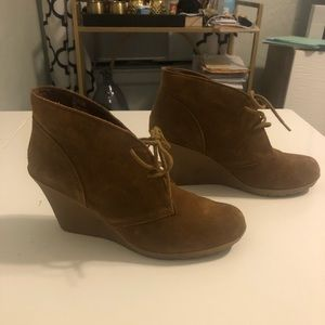 Chestnut suede lace-up wedge booties. Size 9
